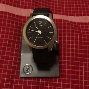 Electric black leather & stainless steel watch new
